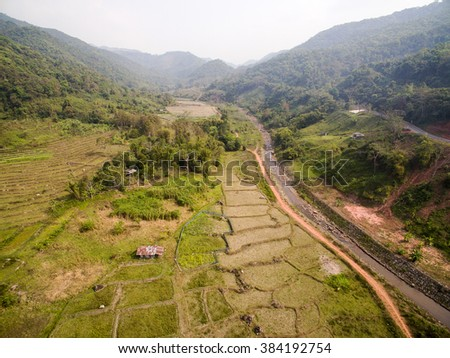 Aerial view of a small mountain village in Nan Province, Thailand