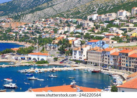 Aerial view of a small resort by the Adriatic sea coast, Senj, Croatia