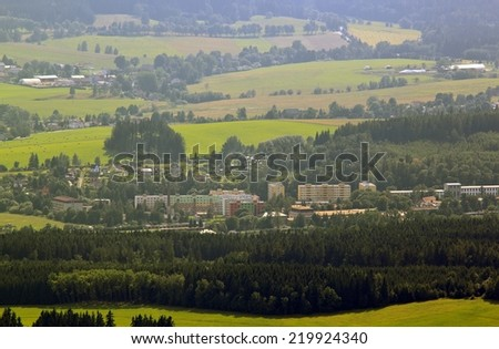 aerial view of a small town  - stock photo