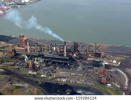 aerial view of a Steel mill along lake Ontario in Hamilton Ontario Canada - stock photo