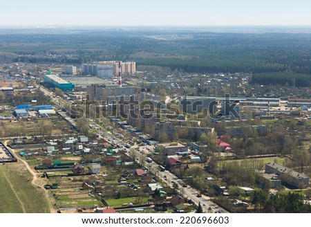 Aerial view of a suburban provincial town Bolshie Vyazemy near Moscow from helicopter in Russia.