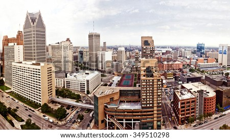 Aerial view of abandoned downtown of Detroit, Michigan - stock photo