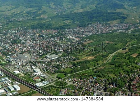 aerial view of Achern in the Ortenau Baden region, Germany - stock photo