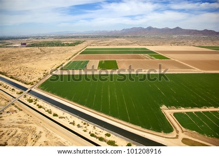 Aerial view of agriculture and irrigation near Scottsdale, Arizona