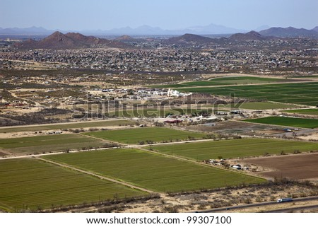 Aerial view of agriculture off Interstate 19 south of Tucson, Arizona - stock photo