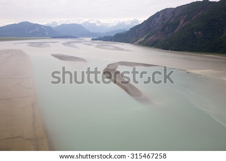 Aerial view of alaskan wilderness from a small airplane - stock photo