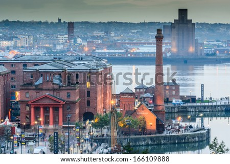 Aerial view of Albert Dock and surrounding area - stock photo