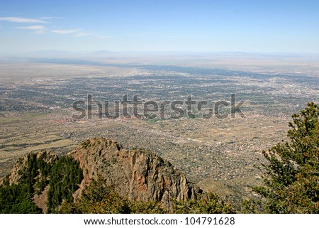 Aerial view of Albuquerque, New Mexico - stock photo