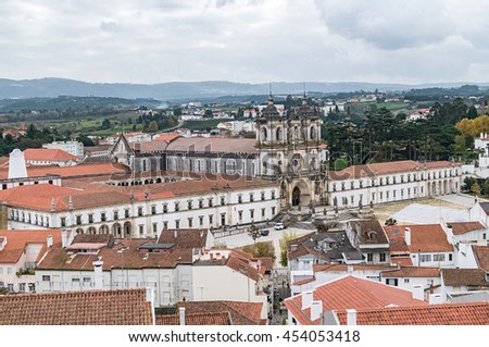 Aerial view of Alcobasa town and The Alcobaca Monastery,Portugal.