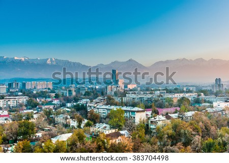 Aerial view of Almaty - stock photo