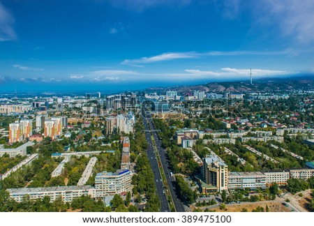 Aerial view of Almaty city - stock photo