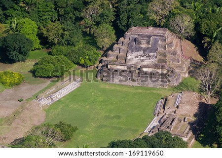aerial view of Altun Ha, maya ruins in the tropical jungle of Belize - stock photo