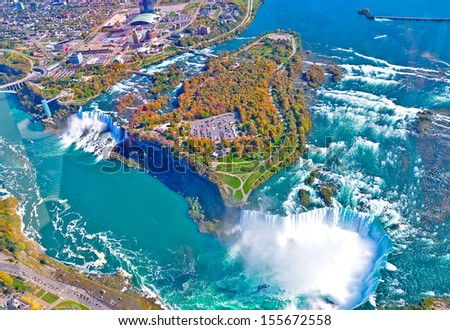 Aerial view of amazing niagara falls, Canada and United States of America - stock photo