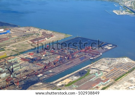 aerial view of an industrial area along the Lake Ontario in Hamilton Ontario, Canada