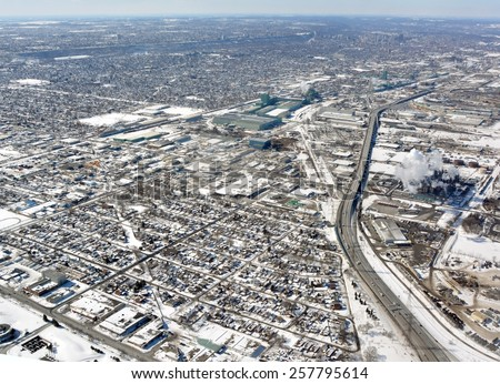 aerial view of an industrial area in Hamilton Ontario, Winter - stock photo