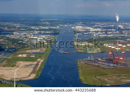 Aerial view of an industrial area in Netherlands - stock photo