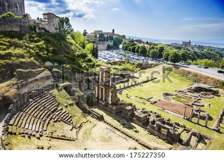 Aerial view of ancient roman amphitheatre, Volterra, Province of Pisa, Tuscany, Italy - stock photo