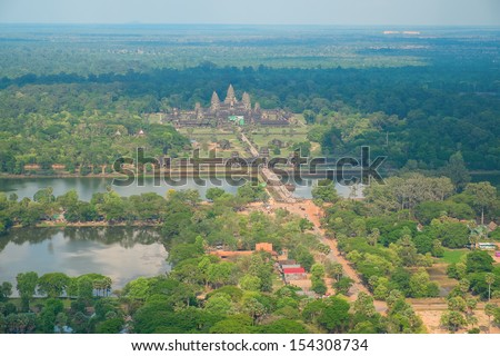 Aerial view of Angkor Wat Temple, Cambodia, Southeast Asia