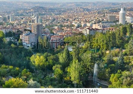 Aerial view of Ankara, the Capital city of Turkey