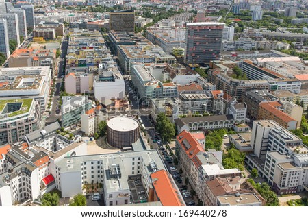 Aerial view of apartment buildings in Berlin, Germany - stock photo