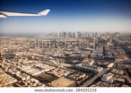 Aerial view of apartment houses in Dubai city (United Arab Emirates)