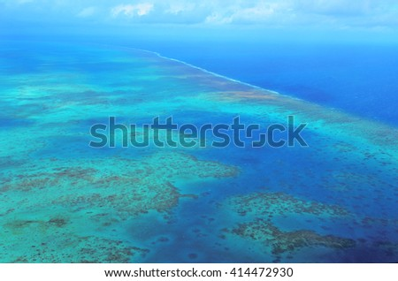 Aerial view of arlington coral reef at the Great Barrier Reef near Cairns in Tropical North Queensland, Queensland, Australia.