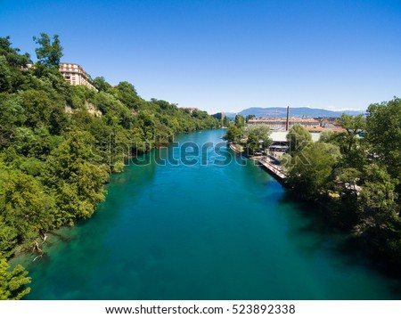 Aerial view of Arve an Rhone river confluent in  Geneva Switzerland