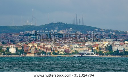 aerial view of asian part of istanbul. - stock photo