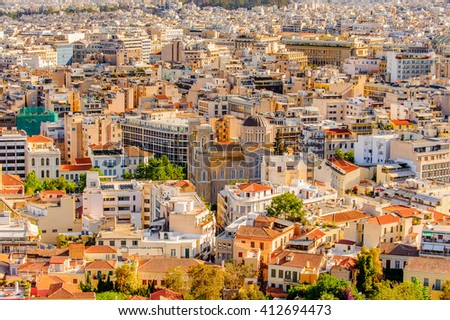 Aerial view of Athens, the capital of Greece.