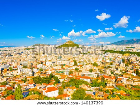 Aerial view of Athens town with lecabetus hill from Acropolis rock in Greece