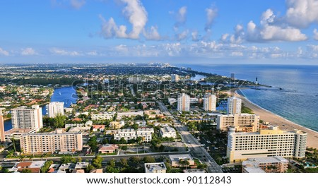 aerial view of atlantic intracoastal waterway and ocean at pompano beach florida, with hillsboro inlet and lighthouse - stock photo