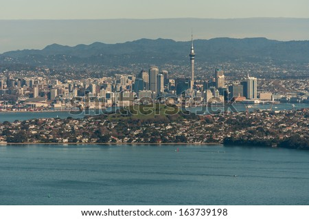 aerial view of Auckland and Devonport - stock photo