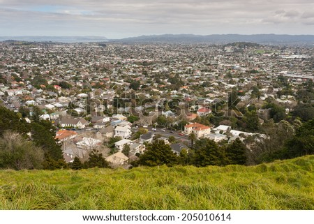 aerial view of Auckland suburb, New Zealand - stock photo