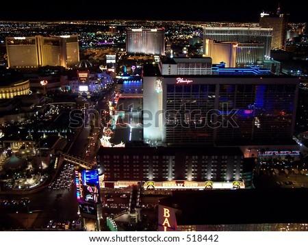 Aerial view of Bally's and Flamingo, Las Vegas - stock photo