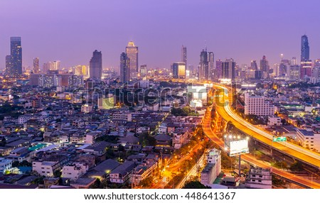 Aerial view of Bangkok cityscape at twilight night of Thailand