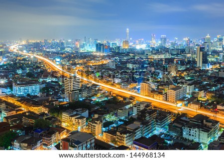 Aerial view of Bangkok downtown Skyline at night - stock photo