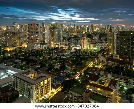Aerial view of Bangkok night city - stock photo