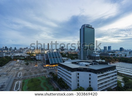 Aerial view of Bangkok skyline cityscape at twilight