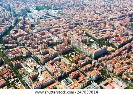 Aerial view of Barcelona from helicopter. Sants residential district - stock photo
