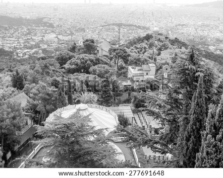 Aerial view of Barcelona from the hills surrounding the city in black and white