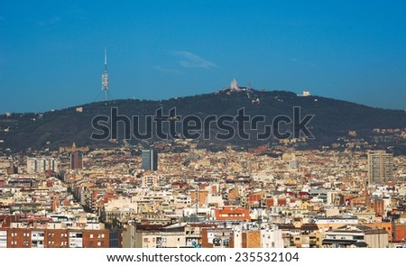 aerial view of barcelona from the top of montjuic castle. - stock photo