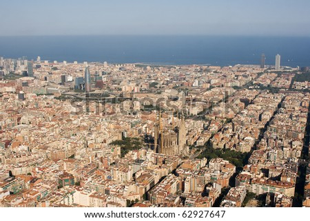Aerial view of Barcelona (Spain). - stock photo