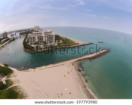 Aerial view of beach and inlet in Boca Raton, Florida - stock photo