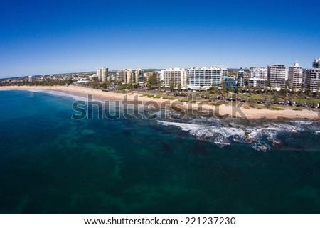 Aerial view of beachfront hotels on sunrise, Mooloolaba, Queensland, Australia - stock photo