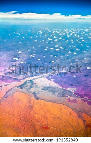 Aerial view of beautiful Africa. Seen from the sky on a clear day in summer. - stock photo