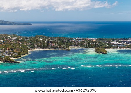 Aerial view of beautiful bay in tropical Island with very white sand. Boracay Island, Philippines. - stock photo