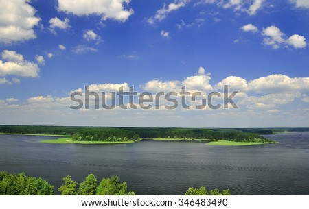 Aerial View of Beautiful Lake and Island with blue sky
