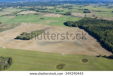 Aerial view of beautiful Masurian countryside, Poland