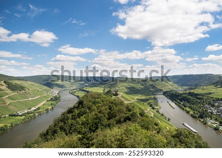 Aerial view of beautiful river Moselle in Germany - stock photo