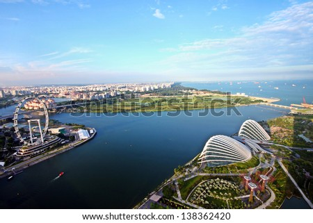 Aerial view of beautiful Singapore island - stock photo